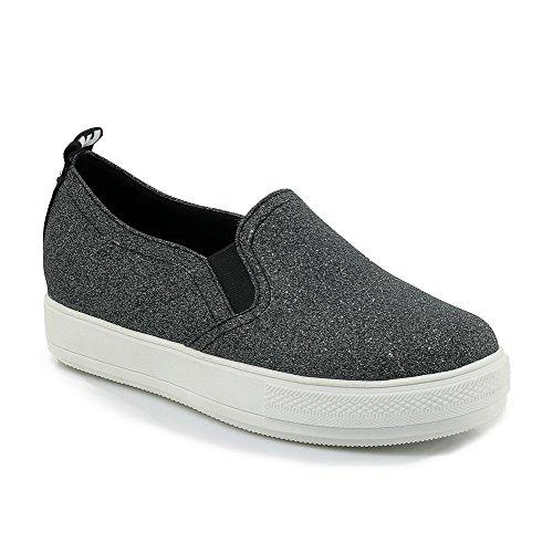 Voguezone009 Senhoras Puxar As Vendas Mais Baixas Bombas De Couro Pu Bico Redondo Puro Sapatos Pretos