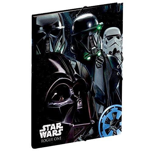 Disney  - Carpeta con Gomas Star Wars Rogue One Imperial  Negro y Gris