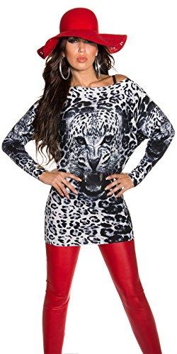Superbe Pull tricoté en cachemire avec Animal Print.One Taille 8/10/12. Gris - Gris