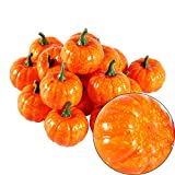 Halloween Kürbisse Deko, 16 Stücke Orange Künstliche Zierkürbisse Herbst Tischdeko für Halloween Haus Dekor - 8