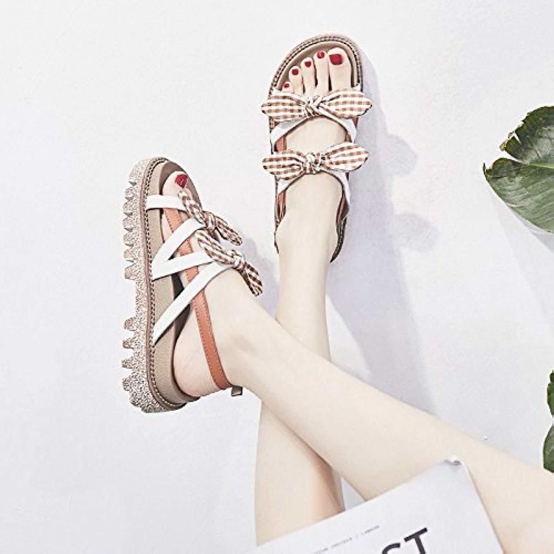 LYSLOLI sandali sandali sandali estivi donna fondo piatto Wild Student Roman Wind zeppe, Khaki, 38 | Una Grande Varietà Di Merci  | Scolaro/Signora Scarpa  d0421c