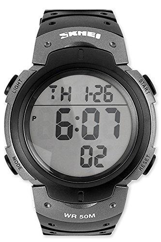 DSstyles Militär 5ATM Wasserdichte Herren Sport Armbanduhr leicht zu lesen Digital Quarz Chronograph Sportuhr Uhr - grau