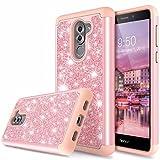LK Coque Huawei Honor 6X, bling Etui Housse Brillante Protection Antichoc [2 en 1] Hybride PC Dur + TPU Doux Résistante case pour Huawei Honor 6X - Or Rose