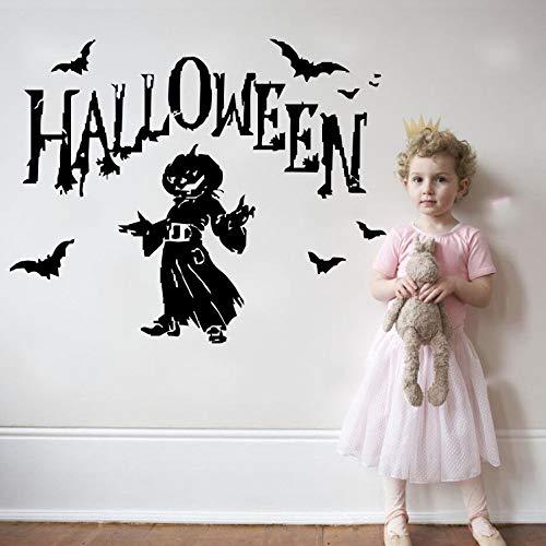 JJHR Wandtattoos Wandaufkleber Halloween Party Wandaufkleber Kürbis Fliegen Fledermäuse Mit Mann Silhouette Wandtattoos Home Schlafzimmer Kunst Dekor 46 * 58 ()