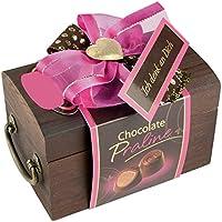 Caja de regalo de madera para bombones, caja de bombones madera con frase en alemán: Ich Denk an Dich   pequeño regalo Idea de Regalo para Mujer novia con chocolate
