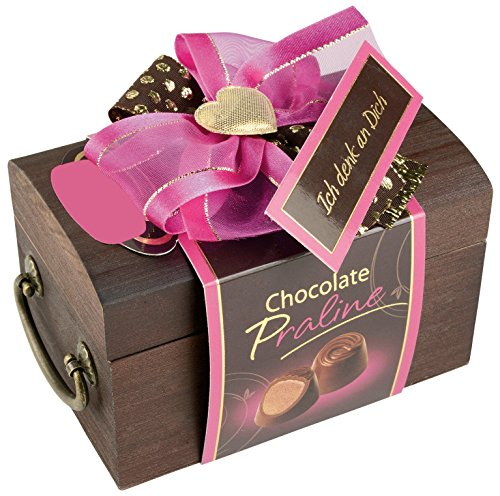 Caja de regalo de madera para bombones, caja de bombones madera con frase en alemán: Ich Denk an Dich | pequeño regalo Idea de Regalo para Mujer novia con chocolate