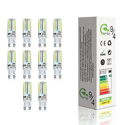 ELINKUME 10 Stück LED lampen G9 4W LED Leuchtmittel 48*2835 SMD LEDs Kaltweiß High-Power energiesparlampen AC220-240V (18×50mm) (Weiche, Weiße Perle)