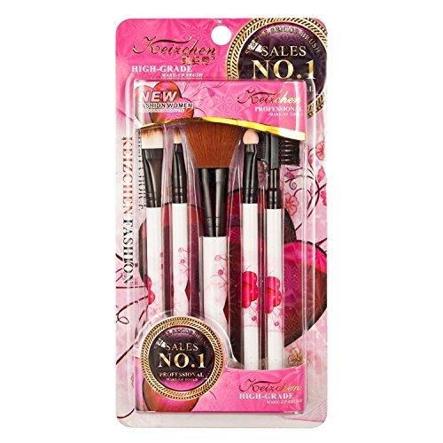 Davidsonne Lot de 5 outil de maquillage Brosse Kit de voyage coeur rose