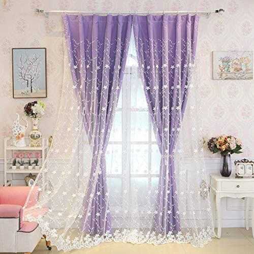 Wenroumiao fiore ricamato tenda, romantici voile prova del suono doppia partita di mix ragazze camera da letto soggiorno tenda della partizione-porpora 200x270cm(79x106inch)
