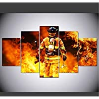 sxkdyax (No frame) 5 piece canvas art HD firefighter print pictures for the living room canvas painting wall decoration for home living room