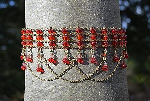 Ras du cou Cornaline / collier cristal rouge et bronze / orange du flamme / steampunk / fée gothique / pierre semi précieux / sorcière / dark mori / vampir / strega / elfe / féerique / fénix / cristal feu /