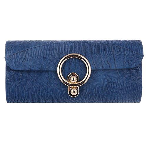 Damara Pochette Femme Sac de Soirée Nubuck Texture Grande Large Couleur Unie Antique bleu
