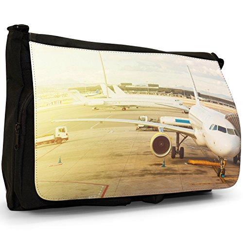 Velivoli con motivo aeroplani di Planes, colore: nero, Borsa Messenger-Borsa a tracolla in tela, borsa per Laptop, scuola Getting Ready For Departure