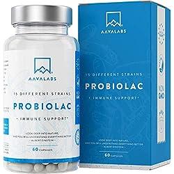 Probiótico [ 30 Miles de millones UFC ] - Fórmula de amplio espectro con 15 cepas - Incluye lactobacilos y bífidobacterias - Mejora del sistema inmunológico - 60 cápsulas de liberación prolongada