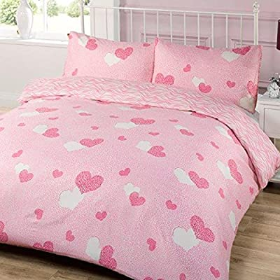 Dreamscene Bedding Amalya Heart Duvet Cover Bedding Set With Pillowcases, Pink, Single - inexpensive UK light shop.