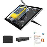 "Microsoft Surface Pro 4 Ecran tactile 12,3"" (Intel Core i5 6ème génération, 8 Go de RAM, SSD 256 Go, Windows 10 Pro) + Stylet surface + Clavier Type Cover Noir + Station d'accueil + Office 365 Personnel 1 PC Windows/Mac + 1 tablette - Abonnement 1 an"
