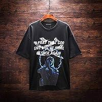 DTX Marca de Moda para Hombre Marea de Manga Corta para Hombre, Camiseta de Hombre, Camiseta Impresa, Personalidad de la Camiseta, Negro, Metro