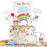 Colmanda Einhorn Tortendekoration, Cake Deko Einhorn Kuchendeko Happy Birthday Cake Topper Einhorn Deko Girlande Luftballon Kuchen Topper Regenbogen Wolke für Kinder Mädchen Junge