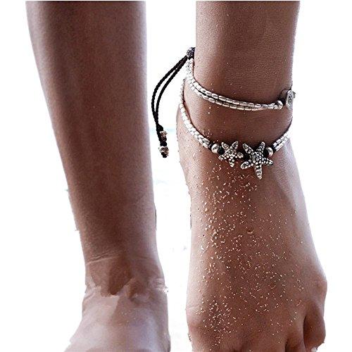 Rune Boho Starfish Anklet Vintage Ankle Bracelet For Women Buddha Foot Jewelry Summer Barefoot Beach Anklet (Starfish+Rune)