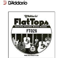 D'Addario Corde seule en bronze phosphoreux et avec filet demi-plat pour guitare acoustique D'Addario FT026.026
