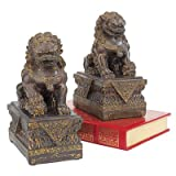 Design Toscano NY91366801 Statue de Chien Lion Foo gardien de temple chinois Bronze 18 x 11,5 x 23 cm