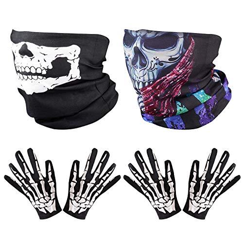 Gesichtsmaske Kostüm Schwarze - ZOYLINK 2 Set Weiß Schädel Gesichtsmaske und Skelett HandschuheGeist Multifunktionstuch Motorradmaske Sturmmaske Schwarz für Halloween Fasching Karneval Party Kostüm
