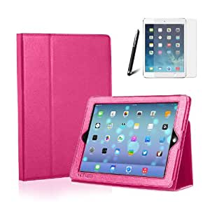 MOFRED® Hot Pink Apple iPad Air-5th Generation (Launched 2013) Case-MOFRED®- Executive Multi Function Standby Case for New Apple iPad Air with Built-in magnet for Sleep & Awake Feature + iPad Air Screen Protector Film + Stylus Pen (available in multiple colors)