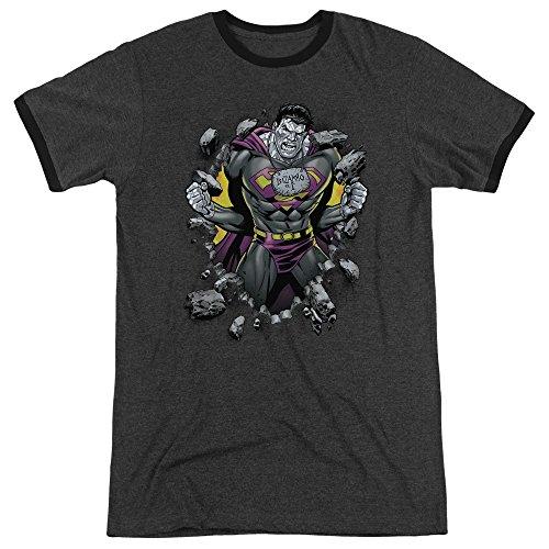 Superman Männer Bizzaro Breakthrough Ringer T-Shirt, XX-Large, Charcoal