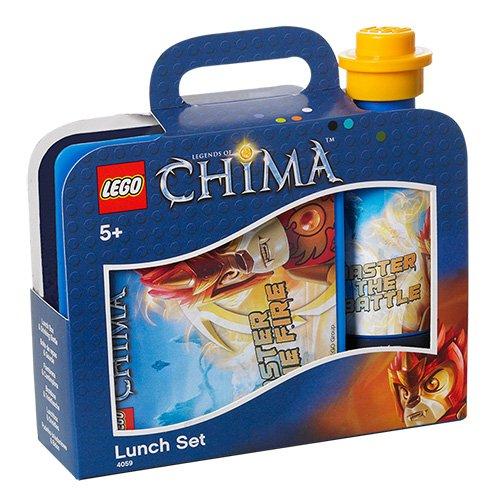 Preisvergleich Produktbild LEGO Lizenzkollektion 40591720 - Legends of Chima Frühsstücksset mit Brotdose und Trinkflasche, Motiv Laval, blau