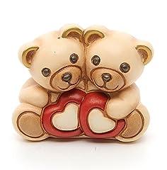 Idea Regalo - THUN ® - Coppia Romantica Orsetto Teddy con Cuori - Ceramica - h 5 cm - Linea I Classici