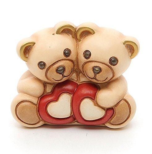 Thun ® - coppia romantica orsetto teddy con cuori - ceramica - h 5 cm - linea i classici