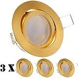 3er LED Einbaustrahler Set Gold/Messing mit LED GU10 Markenstrahler von LEDANDO - 5W - schwenkbar - warmweiss - 120° Abstrahlwinkel - A+ - 35W Ersatz - Milchglasoptik