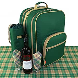 Deluxe Picnic Backpack Set For 4 Flask Mugs and Travel Rug