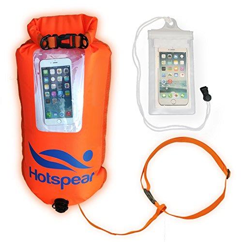 Hotspear Aufblasbare Schwimm-Boje Trockene Tasche der Marke offenes Wasser und Triathleten Tow Schwimm Extra Haltbar. Offene Wasser-Schwimmer, Schnorcheln Safaris (Selfie Fenster)