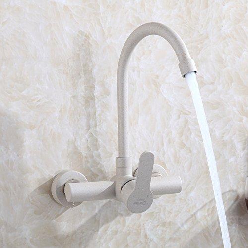 LaLF Europäischer Wasserhahn In-Wall-Küche modernen 304 Edelstahl heißen und kalten schwarzen Wasserhahn Spüle Waschküche großen gekrümmten Abschnitt - Gekrümmten Abschnitt