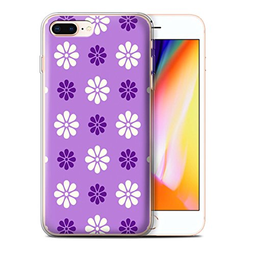 Stuff4 Gel TPU Hülle / Case für Apple iPhone 8 Plus / Blau Muster / Muster mit Blütenblättern Kollektion Violett