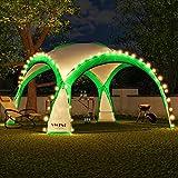 Swing & Harmonie LED Event Pavillon 3,6 x 3,6m DomeShelter Garten Pavillion inkl. Solarmodul Pavilion Designer Gartenzelt Camping Pavilon Partyzelt mit Beleuchtung (Grün)