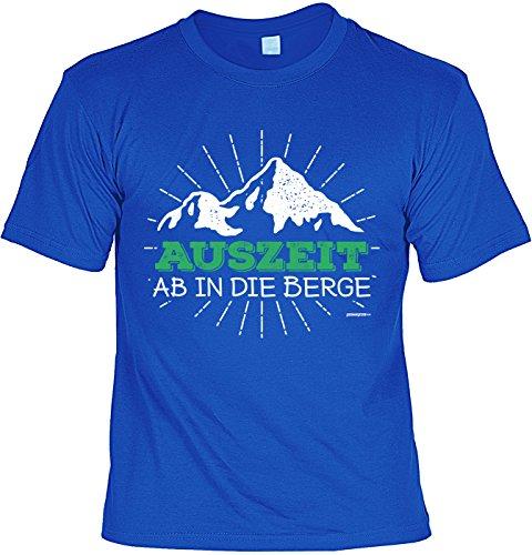 Wander T-Shirt Auszeit - Ab in die Berge Kletter Bergsteiger Shirt 4 Heroes Geburtstag Geschenk geil bedruckt Royalblau