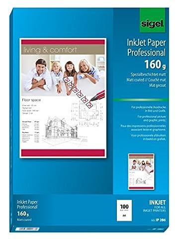 Sigel IP286 Papier professionnel d'imprimante jet d'encre, format A4 (21 x 29,7 cm), 100 feuilles