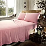 NZ Plain Flannelette 100% Natural Brushed Cotton Luxurious Thermal Super Soft Cosy Warm Fitted Sheets/Flat Sheets/Pillowcases All Sizes (Super King Fitted Sheet, Pink)