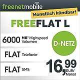 freenetmobile freeFLAT L im D-Netz monatlich kündbar (6 GB Internet-Flat max. 21 MBit/s, Telefon- und SMS-Flat in alle dt. Netze, EU-Roaming, 16,99 EUR/Monat, 25 EUR Rufnummernmitnahme-Bonus)