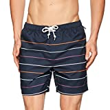 Original Penguin Stripe Print Elastic Volley Bañador, Azul (Dark Sapphire 413), Medium para Hombre