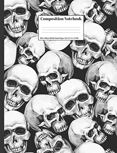 : Human Skulls Halloween Design Cover 100 College Ruled Lined Pages Size (7.44 x 9.69) ()