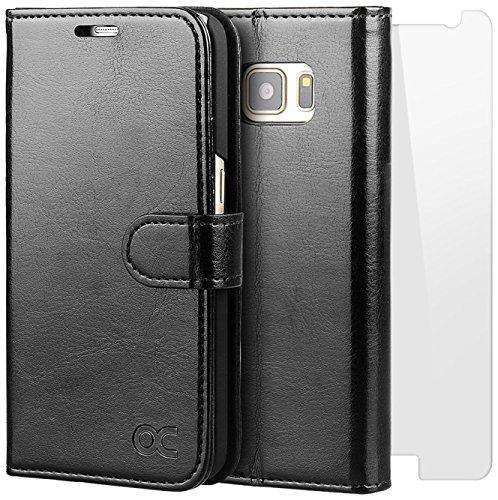 OCASE Coque Samsung Galaxy S7 Porte-cartes [ Film De Protection Offert ] étui Porte-Carte à Rabat Housse en Cuir - Noir