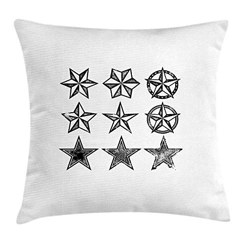 Texas Throw Pillow Cushion Cover, Grunge Looking Distressed Stars Collection Monochrome Design Old Fashioned Western, Decorative Square Accent Pillow Case, 18 X 18 inches, Black White Square Double Old Fashioned