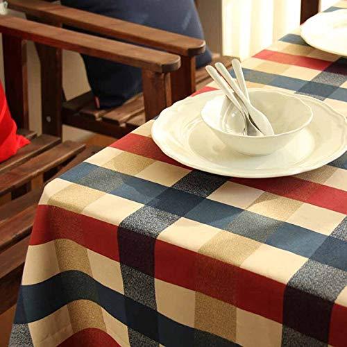aumwolle Tischdecke, Waschbare Tischdecke, Karierten Europa Stil Sitz Kissen Tasse Matte Hintergrund Tuch Bankett, Esstisch/kaffeetisch/Garten/Party Tischdecke 100x140cm ()