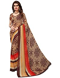 Mrinalika Fashion Georgette Saree With Blouse Piece (sarees Below 500 Rupees Georgette 14020_Brown_Free Size)