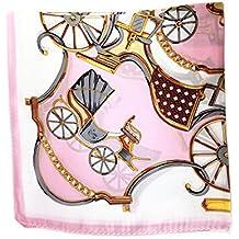 Silk Run Pink chain Foulard carré en 100% soie imprimé (55cmx55cm, ... 29f3e98969c