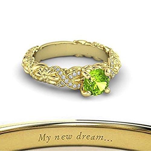 Bellissimo bouquet incisione gratuita nodo principessa fidanzamento ring-14K, .925In Argento Sterling Massiccio, finitura oro giallo su 1,25cttw peridoto anello solitario per donna (V