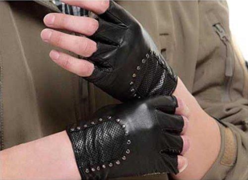 GQQgloves Hommes et Femmes Couple Locomotive à bicyclette Gant demi-doigt Cuir en peau de mouton Anti-glissement Ecran solaire Givre Noir Rouge Marron Blanc men black